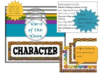 Character Building Words and Quotes, Chocolate theme