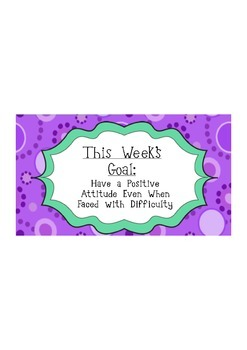Weekly Character Trait Goals ~ Citizenship / Positive Classroom Culture ~ SEL