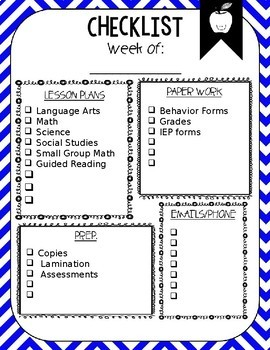Weekly Checklist | Editable