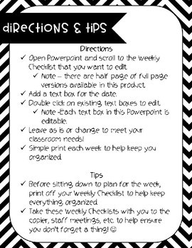 Weekly Checklist | Editable