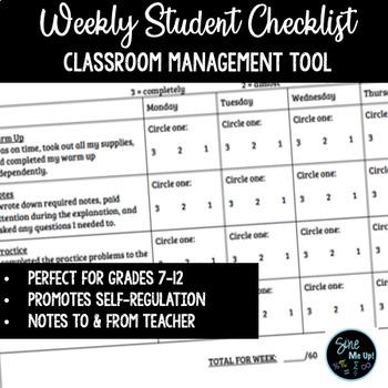 Weekly Checklist Behavior & Classwork - Growth Mindset/Classroom Management
