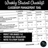 Weekly Checklist Behavior & Classwork - Growth Mindset/Cla