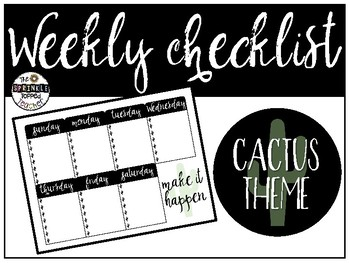Weekly Checklists - Cactus Theme