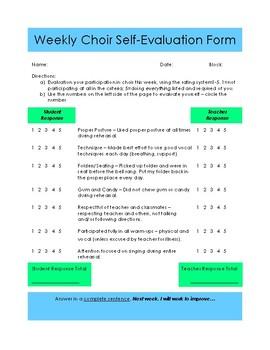 Weekly Choir Self-Evaluation