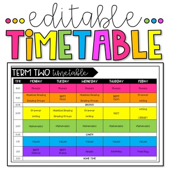 Weekly Class Timetable  Editable By Miss DwyerS Classroom  Tpt