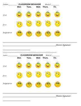 Weekly Classroom Behavior Log