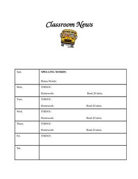 weekly classroom calendar template by sharon miller tpt