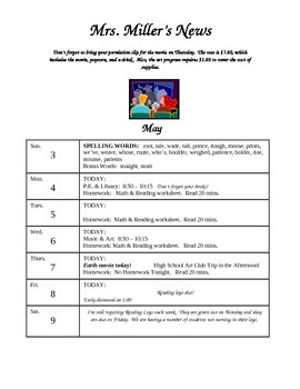 Weekly Classroom Calendar Template