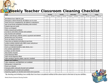 Weekly Classroom Cleaning Checklist