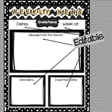 Weekly Classroom Newsletter - Editable and Personalized!