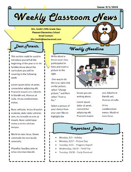 weekly classroom newsletter template editable