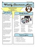 Weekly Classroom Newsletter Template - Editable