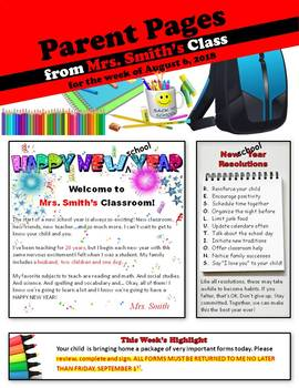 Weekly Classroom Newsletters 2018-2019