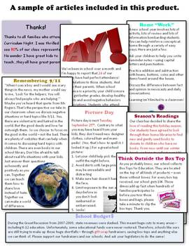 Weekly Classroom Newsletters 2018-2019 Sneak Peek