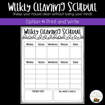 Weekly Cleaning Schedule Templates (EDITABLE)