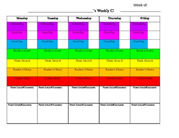 Weekly Clip Chart Behavior Log