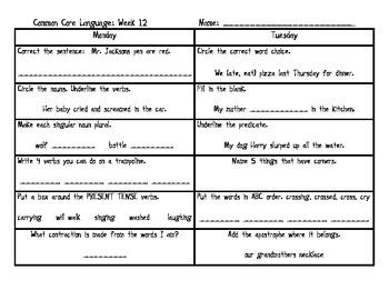 Weekly Common Core Language: Weeks 10-18