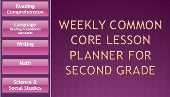 Weekly Common Core Lesson Planner - All Subjects