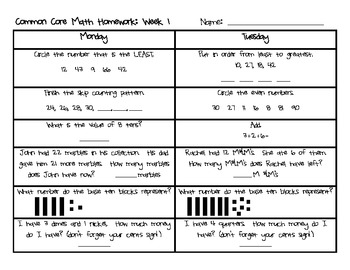 Weekly Common Core Math Homework: Weeks 1-9