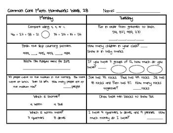 Weekly Common Core Math Homework: Weeks 28-36