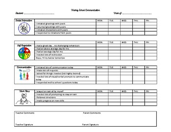 Weekly Communication Book Template - Behaviour/Social Skills/Learning Skills