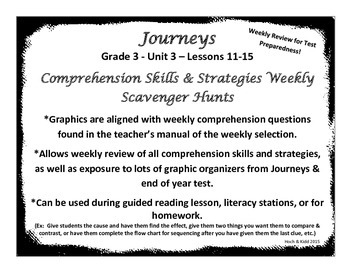 Weekly Comprehension Skills & Strategies - Journeys - Grade 3 - Unit 3