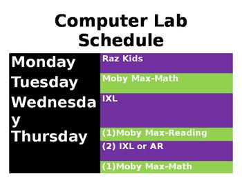 Weekly Computer Lab Schedule  *Editable*