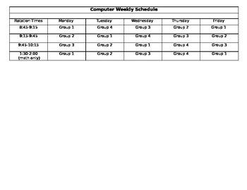 Weekly Computer Schedule Template