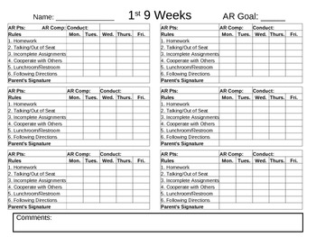 Weekly Conduct Chart for Communication Notebook