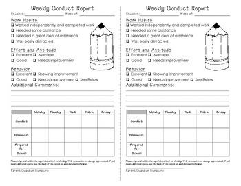 Weekly Conduct Report