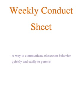 Weekly Conduct Sheet