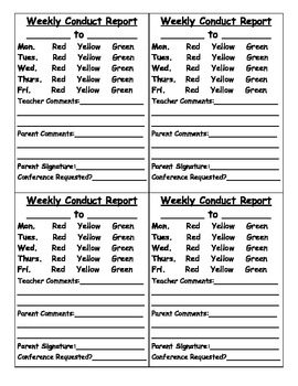 Weekly Conduct Slip