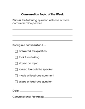 Weekly Conversation Topics: Homework for Social Language, Speech Therapy