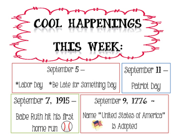 Weekly Cool Happenings Poster for Library Media Center or Classroom - Fun Facts!
