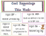Weekly Cool Happenings Poster for Library Media Center or