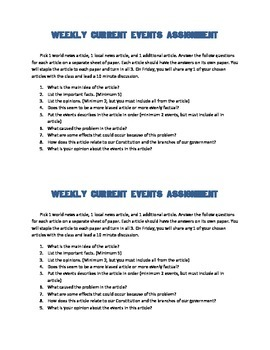 Weekly Current Events Assignment