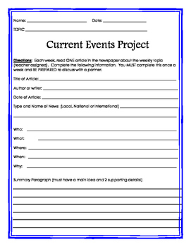Weekly Close Reading Informational Current Events Newspaper Project Template