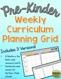 Weekly Curriculum Planning Grid