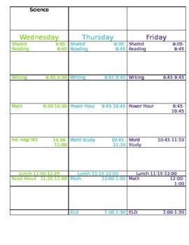 Weekly Customizable Schedule