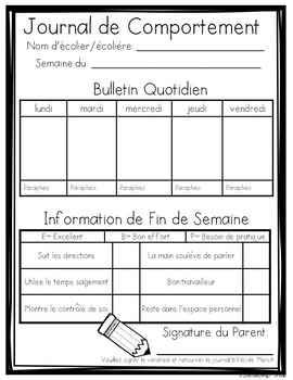 Journal de Comportement en français - Weekly / Daily Behavior Log in French