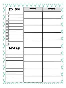 Weekly Day Plan - 10 Blocks