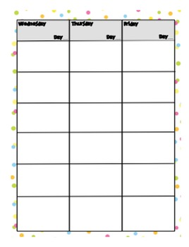 Weekly Day Planner - 6 Blocks