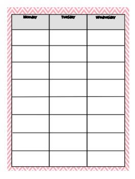 Weekly Day Plan - 8 Blocks