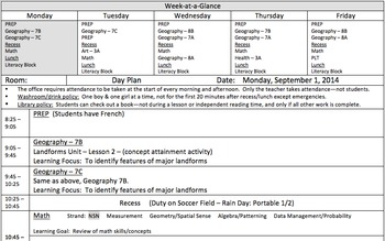 "Day Plan Template with ""Week-at-a-Glance"" for All Grades"