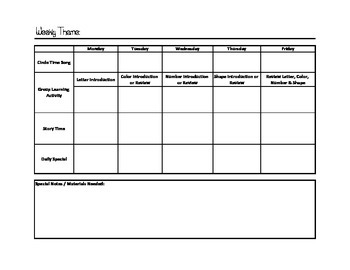Weekly Daycare Planner