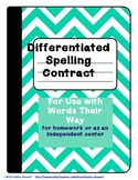 Weekly Differentiated Spelling Contract for Words Their Way