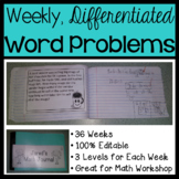 Weekly Differentiated Word Problems for Math Workshop - 3rd Grade