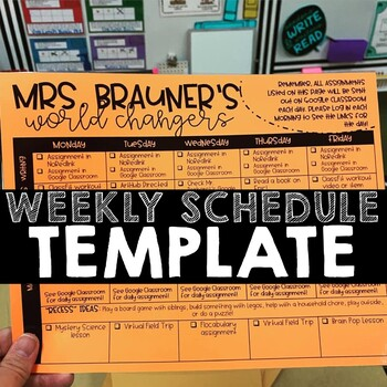 Weekly Distance Learning Schedule Template