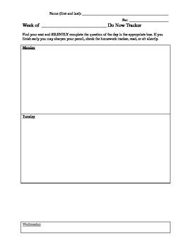 Weekly Do Now / Jumpstart / Bell Ringer Sheet
