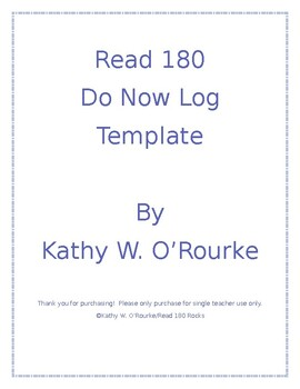 Read 180 Universal Stage A Do Now Log Template